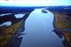 AERIAL VIEW OF PEEL RIVER FERRY IN AUTUMN, DEMPSTER HIGHWAY
