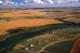 AERIAL VIEW AUTUMN FIELDS, SOUTH SASKATCHEWAN RIVER, SASKATOON