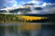 PATRICIA LAKE AND PYRAMID MOUNTAIN WITH FALL COLOURS, JASPER NATIONAL PARK