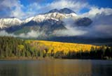 CAL AUT SCE  AB  DSR1000083DPATRCIA LAKE AND PYRAMID MOUNTAIN WITH FALL COLOURSJASPER NATIONAL PK         10..© DUANE S. RADFORD         ALL RIGHTS RESERVEDAB_;ALBERTA;ALPINE;AUTUMN;CAL_AB;CALENDARS;CORDILLERA;ELEMENTS;FOG;JASPER_NP;LAKES;MIXED_FOREST;MOUNTAINS;NP_;PATRICIA_LAKE;PYRAMID_MOUNTAIN;ROCKIES;SCENES;TREES;WATERLONE PINE PHOTO              (306) 683-0889