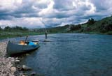 CAL FIS MIS  AB  DSR1000025DFISHERMAN AND CANOE CROWSNEST RIVERLUNDBRECK                          07..© DUANE S. RADFORD          ALL RIGHTS RESERVEDAB_;ALBERTA;ALPINE;CAL_FISHING;CALENDARS;CANOEING;CORDILLERA;CROWSNEST_RIVER;FISHING;LUNDBRECK;OUTDOORS;PEOPLE;RIVERS;SPORTS;SUMMERLONE PINE PHOTO              (306) 683-0889