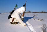 CAL HUN MIS  SK     1619029D  MR#290 RE-CURVE BOW HUNTER CHECKING GAME TRAIL IN SNOWSASKATOON                       127© CLARENCE W. NORRIS      ALL RIGHTS RESERVEDACTIVITIES;ADULTS;ARCHERY;ARROWS;BOWS;CAL_HUNTING;CALENDARS;CAMOUFLAGE;GAME;HUNTING;MALE;MR_;PEOPLE;PLAINS;PRAIRIES;QUIVERS;SASKATCHEWAN;SASKATOON;SCENES;SK_;SNOW;TRAILS;WEAPONS;WINTERLONE PINE PHOTO              (306) 683-0889