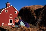 CAL PEO SPR  SK     1902004D  MR GIRL READING ON ROUND BALES RED BARN BEHINDVANSCOY                           04/11© CLARENCE W. NORRIS      ALL RIGHTS RESERVEDBALES;BARNS;BUILDINGS;CAL_PEOPLE;CALENDARS;FARMING;FEMALE;JENNIE;MR_;OUTDOORS;PEOPLE;PLAINS;PRAIRIES;READING;RURAL;SASKATCHEWAN;SCENES;SK_;SPRING;STRUCTURES;TEENS;VANSCOY;YOUTHLONE PINE PHOTO              (306) 683-0889