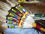 CUL NAT POW  SK  CWN02D4246D       CLOSE-UP OF EAGLE FEATHER FANSASKATOON                       1019© CLARENCE W. NORRIS      ALL RIGHTS RESERVEDABORIGINAL;COSTUMES;CRAFTS;CULTURE;DANCE;FANS;FEATHERS;FIRST;FIRST_NATIONS;NATIONS;PLAINS;POW;POW_WOW;PRAIRIES;SASKATCHEWAN;SASKATOON;SK_;WOWLONE PINE PHOTO              (306) 683-0889