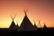 TEEPEE VILLAGE AT SUNSET, WANUSKEWIN HERITAGE PARK, SASKATOON