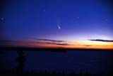 ELE COM MIS  MB  BAE1000079DSTARRY SKY AND COMET HALE-BOPPTROY LAKETHOMPSON                              04© BRUCE A. ECKER                   ALL RIGHTS RESERVEDASTRONOMY;BOREAL;COMETS;ELEMENTS;HALE_BOPP;LAKES;MANITOBA;MB_;SCENES;SHIELD;SKY;SPRING;STARS;THOMPSON;TROY_LAKE;WATERLONE PINE PHOTO              (306) 683-0889