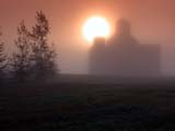 ELE FOG SUM  SK  CWN02D1590D   SUNRISE AND ELEVATOR IN MORNING FOGDUVAL                                     0730© CLARENCE W NORRIS           ALL RIGHTS RESERVEDDUVAL;ELEMENTS;ELEVATORS;FOG;PLAINS;POOL;PRAIRIES;SASKATCHEWAN;SILHOUETTE;SK_;SUNRISES;WEATHERLONE PINE PHOTO                  (306) 683-0889.