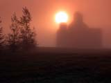 ELE FOG SUM  SK  CWN02D1591D   SUNRISE AND ELEVATOR IN MORNING FOGDUVAL                                     0730© CLARENCE W NORRIS           ALL RIGHTS RESERVEDDUVAL;ELEMENTS;ELEVATORS;FOG;PLAINS;POOL;PRAIRIES;SASKATCHEWAN;SILHOUETTE;SK_;SUNRISES;WEATHERLONE PINE PHOTO                  (306) 683-0889.