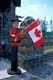 MOUNTIE AND CANADIAN FLAG, CANADA DAY, BALA