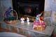 EASTER BASKETS ON FIREPLACE HEARTH, SASKATOON