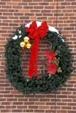 EVE CHR MIS  ON     2100411D  VT     CHRISTMAS WREATH ON BRICK WALLST. JACOBS                       01/..© CLARENCE W. NORRIS      ALL RIGHTS RESERVEDBRICKS;BULLETINS;CENTRAL;CHRISTMAS;DECORATIONS;EVENTS;MASONRY;ON_;ONTARIO;ST_JACOBS;VTL;WREATHS LONE PINE PHOTO              (306) 683-0889