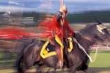 EVE RCM MUS  YT  PEH10000132DRCMP MUSICAL RIDE, SINGLE RIDER, BLURRED MOVEMENTWHITEHORSE                      06..© PHIL HOFFMAN                ALL RIGHTS RESERVEDBLUR;CANADIAN;EVENTS;HORSES;MOTION;PEOPLE;RCMP;RCMP_MUSICAL_RIDE;TOURISM;UNIFORMS;WHITEHORSE;YT_;YUKONLONE PINE PHOTO                  (306) 683-0889