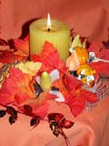 EVE THA MIS  SK  CWN02D4075D  VT  CANDLE AND LEAVES DISPLAY, THANKSGIVINGSASKATOON                       1013© CLARENCE W. NORRIS      ALL RIGHTS RESERVEDBULLETINS;CANDLES;CRAFTS;EVENTS;PLAINS;PRAIRIES;SASKATCHEWAN;SASKATOON;SK_;THANKSGIVING;VTLLONE PINE PHOTO              (306) 683-0889