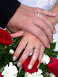 EVE WED MIS  BC  CWN2D2552D  VT  NMRCLOSE UP OF RINGS ON BRIDE AND GROOM'S HANDSSALMON ARM                          08/. .© CLARENCE W. NORRIS           ALL RIGHTS RESERVEDBC_;BRITISH;BRITISH_COLUMBIA;BULLETINS;COLUMBIA;CORDILLERA;COUPLE;EVENTS;FLOWERS;HANDS;PEOPLE;RINGS;SALMON_ARM;VTL;WEDDINGSLONE PINE PHOTO                  (306) 683-0889