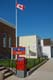 CANADA POST OFFICE, CANADIAN FLAG AND SIGN, NIPAWIN
