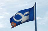 FLA MIS MIS  SK  WDS05B1207DX   METIS FLAG SASKATOON                     ....© WAYNE SHIELS               ALL RIGHTS RESERVEDFLAGS;METIS;PLAINS;PRAIRIES;SASKATCHEWAN;SASKATOON;SK_;SUMMERLONE PINE PHOTO              (306) 683-0889