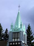 REL MIS MIS  AB  CWN02D2260D  VTCHURCH STEEPLE AND STORM CLOUDSBANFF                                      08..© CLARENCE W. NORRIS           ALL RIGHTS RESERVEDAB_;ALBERTA;ALPINE;BANFF;BUILDINGS;BULLETINS;CHURCHES;CORDILLERA;RELIGION;STEEPLES;STRUCTURES;VTLLONE PINE PHOTO                  (306) 683-0889
