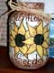 SUNFLOWERS PAINTED ON PICKLE JAR, SASKATOON