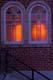 BACKLIT CHURCH WINDOWS AT DUSK, WINNIPEG