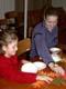 LADY AND GIRL WORKING ON THANKSGIVING CRAFT, SASKATOON