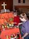 LADY AND GIRL WORKING ON THANKSGIVING DISPLAY, SASKATOON