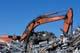 EX270 HITACHI CRANE WORKING IN SCRAP METAL YARD, SASKATOON