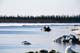PADDLERS ON MACKENZIE RIVER AT BREAKUP, INUVIK