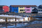 LOC INU MIS  NT  KJM0005301DMULTI-COLOURED ROW HOUSESINUVIK                                   06                  © KEVIN MORRIS                   ALL RIGHTS RESERVEDARCTIC;BUILDINGS;COLOUR;HOMES;INUVIK;MELTWATER;MULTI_UNIT_DWELLINGS;NORTHWEST;NORTHWEST_TERRITORIES;NT_;NWT;SNOW;STRUCTURES;SUMMER;TERRITORIES;TOWNSLONE PINE PHOTO              (306) 683-0889