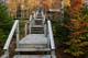 FALL COLOURS AND STAIRS TO THE BEACH, WHYCOCOMAGH PROVINCIAL PARK, CAPE BRETON ISLAND