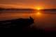 BOAT AT DOCK AT SUNRISE, TILTON LAKE, SUDBURY