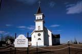 SEA AUT SCE  AB  DSR1001453D  SPRING LAKE ST. BONIFACE CHURCHHEISLER                             10/..© DUANE S. RADFORD         ALL RIGHTS RESERVEDAB_;ALBERTA;AUTUMN;CATHOLIC;CHURCHES;HEISLER;PLAINS;PRAIRIES;RELIGION;SIGNS;STRUCTURESLONE PINE PHOTO              (306) 683-0889