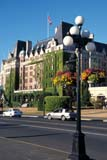LOC VIC MIS  BC  LJN2100935D  VTLAMPPOST, HANGING FLOWER BASKETS, EMPRESS HOTELVICTORIA                             07/08© LAURA NORRIS                 ALL RIGHTS RESERVEDARCHITECTURE;AUTOS;BC_;BRITISH;BRITISH_COLUMBIA;BUILDINGS;BULLETINS;BUSSES;COLUMBIA;CORDILLERA;EMPRESS_HOTEL;HANGING_BASKETS;HISTORIC;HOTELS;LAMPPOSTS;STREETS;STRUCTURES;SUMMER;URBAN;VANCOUVER_ISLAND;VICTORIA;VTLLONE PINE PHOTO              (306) 683-0889