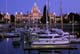 MARINA AND LEGISLATIVE BUILDINGS AT NIGHT IN SUMMER, VICTORIA, VANCOUVER ISLAND