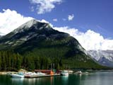 PAR NAT BAN  AB  CWN02D2166D MARINA AT LAKE MINNEWANKABANFF NATIONAL PARK             08..© CLARENCE W. NORRIS           ALL RIGHTS RESERVEDAB_;ALBERTA;ALPINE;BANFF_NP;BOATS;CORDILLERA;LAKES;LAKE_MINNEWANKA;MARINAS;MOUNTAINS;NP_;SCENES;SUMMER;TRANSPORTATION;WATERLONE PINE PHOTO                  (306) 683-0889