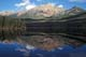 PYRAMID LAKE IN SUMMER, REFLECTIONS ON WATER, JASPER NATIONAL PARK