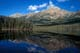 REFLECTIONS ON WATER, PYRAMID LAKE IN SUMMER, JASPER NATIONAL PARK