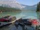 DOCK AND CANOES, EMERALD LAKE, YOHO NATIONAL PARK