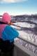 GIRL ON DECK OVERLOOKING BEAVER CREEK, SASKATOON
