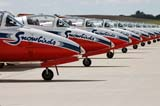 LOC SAS AIR  SK  WDS05B4181DX      SNOWBIRDS CT-114 TUTOR JET LINED-UP ON RUNWAYCANADA REMEMBERS AIRSHOWSASKATOON                     08..© WAYNE SHIELS               ALL RIGHTS RESERVEDAIRPLANES;AIRSHOWS;CANADA_REMEMBERS_AIRSHOW;CT_114_TUTOR_JET;JETS;PLAINS;PRAIRIES;SASKATCHEWAN;SASKATOON;SK_;SNOWBIRDS;TEAMWORK;TOURISM;TRANSPORTATIONLONE PINE PHOTO              (306) 683-0889