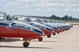 LOC SAS AIR  SK  WDS05B4185DX       SNOWBIRDS CT-114 TUTOR JET LINED-UP ON RUNWAYCANADA REMEMBERS AIRSHOWSASKATOON                     08..© WAYNE SHIELS               ALL RIGHTS RESERVEDAIRPLANES;AIRSHOWS;CANADA_REMEMBERS_AIRSHOW;CT_114_TUTOR_JET;JETS;PLAINS;PRAIRIES;SASKATCHEWAN;SASKATOON;SK_;SNOWBIRDS;TEAMWORK;TOURISM;TRANSPORTATION LONE PINE PHOTO              (306) 683-0889