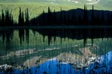 PAR NAT BAN  AB  REH1000862DMOUNTAINS, TREES AND SKY REFLECTED IN PONDBANFF NATIONAL PARK            07© ROYCE HOPKINS                  ALL RIGHTS RESERVEDAB_;ALBERTA;ALPINE;BANFF_NP;CORDILLERA;FOREST;MOUNTAINS;NP_;REFLECTIONS;ROCKY;SCENES;SPRUCES;SUMMER;TREES;WATERLONE PINE PHOTO                 (306) 683-0889