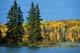 AUTUMN SHORELINE, THE NARROWS, WASKESIU LAKE, PRINCE ALBERT NATIONAL PARK