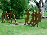 PEO ACT SUM  SK   CWN02T0205D           STATUES OF CHILDREN PLAYING TUG OF WARSASKATOON                            06..© CLARENCE W. NORRIS           ALL RIGHTS RESERVEDART;CHILDREN;GAMES;KINSMEN;OUTDOORS;PARKS;PEOPLE;PLAINS;PRAIRIES;SASKATCHEWAN;SASKATOON;SILHOUETTE;SK_;STATUES;SUMMER;TUG_OF_WARLONE PINE PHOTO                  (306) 683-0889