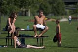 PEO ACT SUM  SK  WDS05B2069DX  NMR PEOPLE PLAYING IN PARKSASKATOON                     ....© WAYNE SHIELS               ALL RIGHTS RESERVEDACTIVITIES;ADULTS;CHILDREN;FAMILIES;GROUPS;OUTDOORS;PARKS;PEOPLE;PLAINS;PRAIRIES;RECREATION;SASKATCHEWAN;SASKATOON;SK_;SUN_TANNING;SWIMSUITSLONE PINE PHOTO              (306) 683-0889