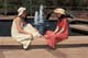 TEENAGE GIRLS BY FOUNTAIN, SASKATOON