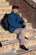 GIRL & BACKPACK ON SCHOOL STEPS IN WINTER, SASKATOON