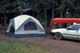 TENT, CAR AND RED CANOE, DEVIL LAKE