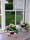 SILK FLOWERS ON WINDOW SILL IN SUMMER, SALMON ARM