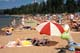 SUMMER BEACH SCENE, WASKESIU LAKE, PRINCE ALBERT NATIONAL PARK