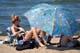 BEACH UMBRELLAS, WASKESIU LAKE, PRINCE ALBERT NATIONAL PARK